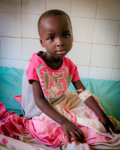 Brima Jawara, 7, has been using a catheter since March due to a urinary blockage. Sent to Ghana on June 7, where a pediatric surgeon will correct her problem with a minimally invasive procedure.